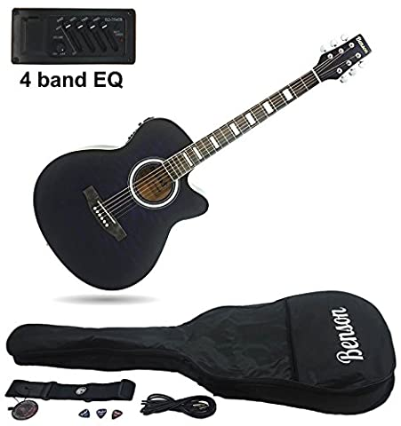 Benson S-Line Electric Electro semi Acoustic hollow body guitar ( crystal black) Fender picks and