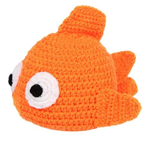 Imagen de happy cherry  disfraz trajes apoyo de fotografía ropa de fotos sombrero gorra para bebés niños niñas de punto de ganchillo formado de animales lindo  pez de colores  naranja