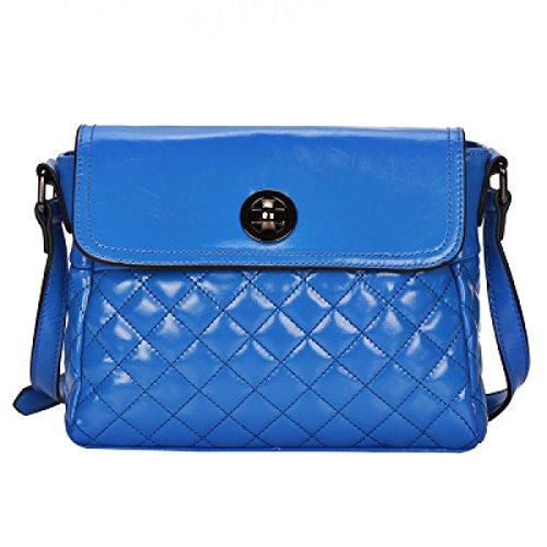 PACK Borse In Pelle Lingge Donne Borse A Tracolla Cera In Pelle Di Cuoio Donna Satchel,A:Blue A:Blue