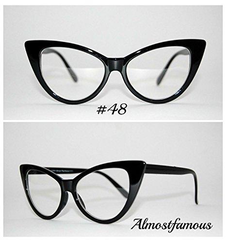 Rockabilly Cat Eye schwarz VTG Stil der 50er/60er Damen Cat Eye Sonnenbrille Retro Rockabilly Brille Vintage UK