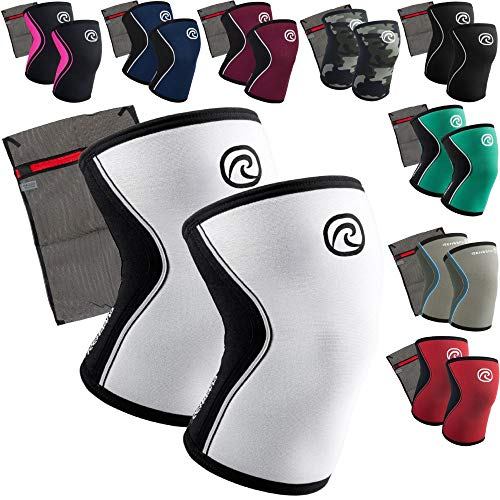 Rehband [1 Paar] 5 mm Neopren Kniebandage - Kniestütze + Ziatec Wäschenetz - Kniegelenk-Bandage - Kniebandage-Krafttraining, Farbe:grau, Größe:XL - 1 Paar