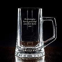 Jarra de cerveza personalizada en estuche (Jarra grabada con texto)