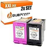 2x Bubprint Tintenpatrone kompatibel für HP 302 302XL DeskJet 3636 2130 3630 1110 Envy 4525 4520 OfficeJet 3831 3830 4655 Multifunktionsdrucker