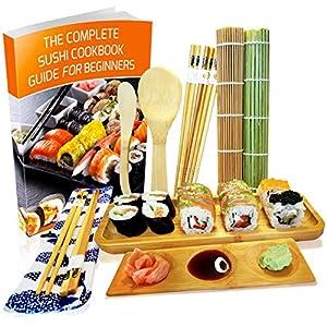 Sushi Set 11-teilig - Bambus Sushi Maker Kit Rollmatte und Servierset für Anfänger - 2 Matten, 5 Paar Essstäbchen mit Tasche, Reislöffel, Spreizer, Servierteller, Triplett-Soßenschale mit Ebook