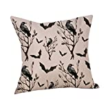 RWINDG Happy Halloween Kissenbezüge Leinen Sofa Kissenbezug Home Decor Kissenbezug kissenhülle Kopfkissenbezug Bettkissenbezug Pillowcase