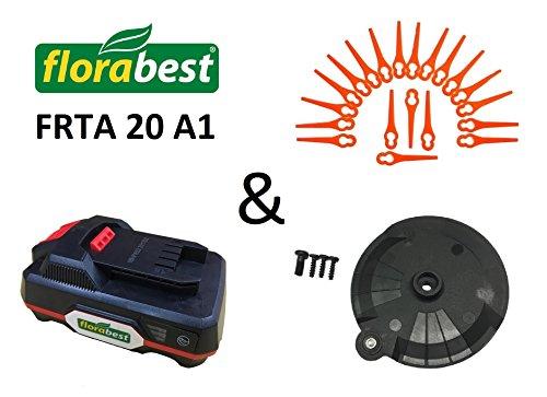 Florabest Spar Set: 20 Messer + Schneidscheibe + Akku / Batterie FAP 20 A1 AKKU für Ihren Lidl / Florabest Akku Rasentrimmer Florabest FRTA 20 A1