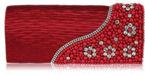 Le Signore Davanguardia Del Partito Di Sera Delle Signore Alla Moda Hanno Bordato Le Belle Borsette Decorative Di Cristallo Rosse