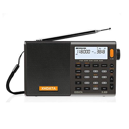 Oferta de XHDATA D-808 Radio Digital Portátil FM estéreo/SW/MW/LW SSB RDS Banda Aérea Altavoz de Radio con Pantalla LCD Reloj de Alarma Antena Externa y Batería Recargable(Gris)