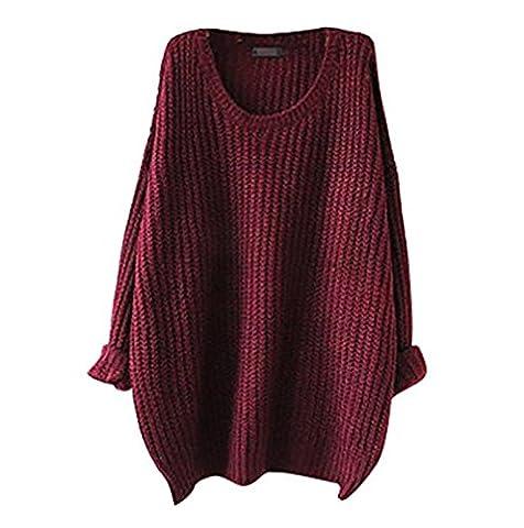 EAAMU®Damen Frauen Strickpulli Lang Gestrickte langarm Pullover Sweater Strickjacke Pulli Strickpullover