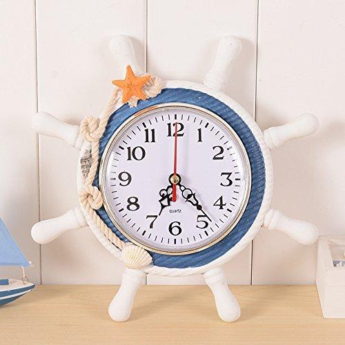 (Emmala Wanduhr Mediterranen Stil Anker Uhr Strand Einfacher Stil Meer Thema Nautische Schiff Lenkrad Clock Rudder Decor Wandbehang Dekoration (Color : A3, Size : Size))