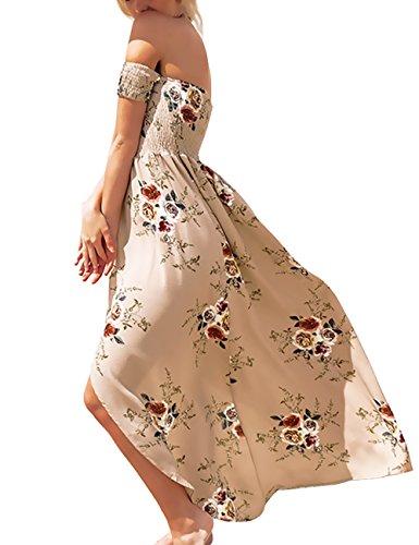 ISASSY Damen Sommerkleid Maxikleid Schulterfrei Strandkleid Langes Party Ballkleid Abendkleid Strandkleid Hell Braun