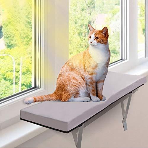 MASTERTOP Fensterbank Katze + Flanell und Schwammauflage Liegematte, Fenster Katzenbett & Hängematte Katze Fensterplatz (60 x 30 x 5cm),Aufkleben