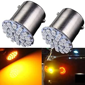 Delhitraderss Bike Motorcycle 2 x 22-SMD LED Amber Tail Light Brake Light Bulb Lamp For-Bajaj Pulsar 150 DTS-i Type 3