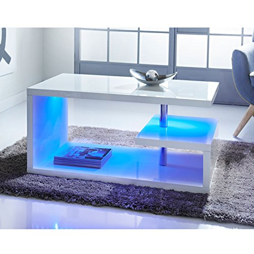 Affordable Alaska Modern Design White High Gloss Quality Coffee Table with Blue LED Lights