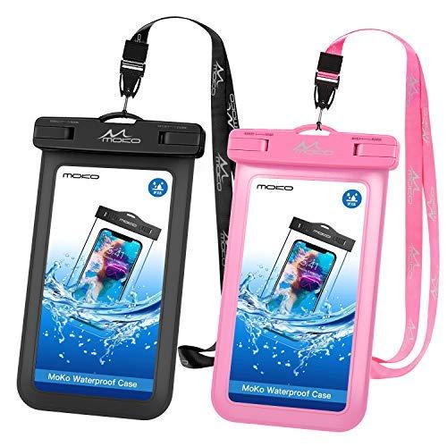 MoKo 2 Stück wasserdichte Handyhülle, Universal Handy Tasche Hülle, IPX8 Wasserfeste Schutzhülle für iPhone X Xs Xr Xs Max, 8 7 6s Plus, Samsung S10 S9 S8 Plus, S10 e - Schwarz+Pink