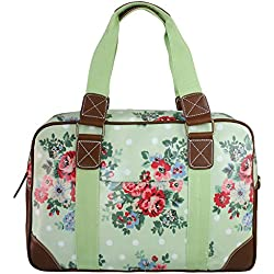 Bolsa de viaje de fin de semana para mujer, diseño de flores y lunares, color verde, talla L