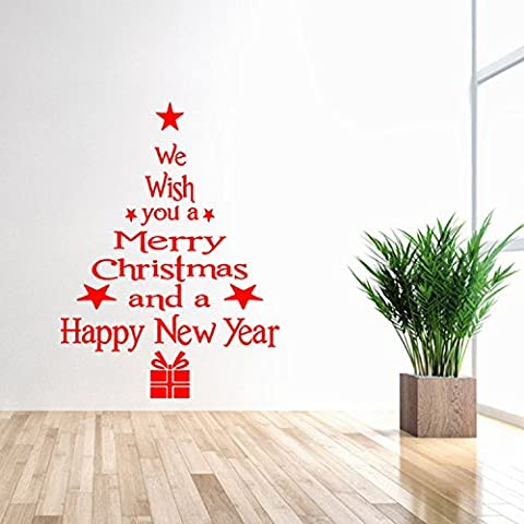 Ferris Store We Wish You Merry Christmas English Letter Quote Wall Sticker PVC Removable Waterproof Window Living Room Wall Decal 16.7x22.7