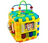 Activity Cube - Activity Centre Early Educational Toy for Infant Toddlers & Preschoolers - 6 Interlocking Blocks - Helps Your Child Identify Colours Shapes Numbers Animals & Learn Nursery Rhymes