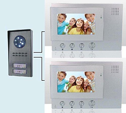 Videocitofono 4,3' (2 monitor + 1 telecamera 2 tasti) Bifamiliare colori (588)