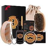 Set barba. Spazzola da barba in setola di cinghiale. Olio emolliente 100 ml, detergente districante 250 ml. Confezione regalo.