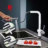 Homelody® Niederdruck Küchenarmatur Wasserhahn herausziehbar armatur mit Brause Niederdruckarmatur Spültischarmatur Einhebelmischer Spültisch Küche Mischbatterie