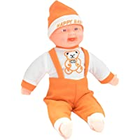 WELLTECH Happy Baby Musical Touch Sensors and Laughing Boy Doll for Kids Girls Boys (Color - Orange) (Size - Medium)