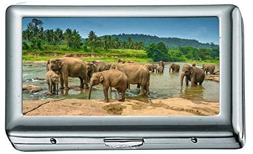 Elefantes Lago Muchos Cachorros Animales Estuche/Caja de Cigarrillos Portatarjetas de Visita Estuche...