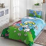 TAC Bettwäsche-Set Schlumpffette aus 100% Baumwolle und Disney-Schlümpfe für Einzelbett, 3-teilig