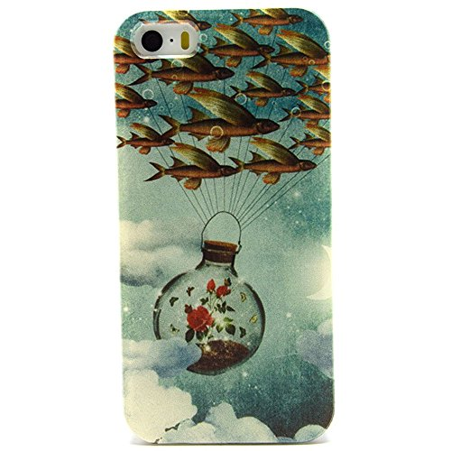 Ancerson tasca posteriore per cellulare, in TPU morbido per Apple iPhone 5/5S/5G colorati in pittura ad olio Stil Colorful Painting Back Case Cover Custodia protettiva Custodia 11 12