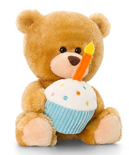 Peluche animale orsacchiotto, pipp the bear happy birthday, teddy con torta con le candeline, coccole animale peluche orsacchiotto di dimensioni 14 cm circa insieme al burro per il corpo
