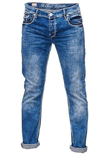 Herren Hose Denim Dicke Nähte Dunkel Blau Verwaschen Naht Farbe Weiß A17444-4, Weite / Länge:33 / 34, Model:Jeans 7444-4 (4-pocket-jeans)