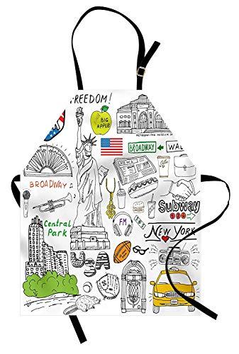 Soefipok Amerikanische Schürze, New York City Kultur Metropolitan Museum Broadway Kreuzung Wall Street Sketch Style, Unisex-Küchenschürze mit verstellbarem Hals zum Kochen Backen Gartenarbeit, Weiß