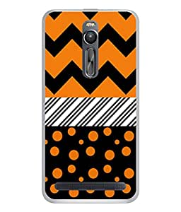 PrintVisa Designer Back Case Cover for Asus Zenfone 2 ZE551ML (Zigzag Stripes Polka Dots Blocks)