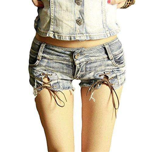 �dchen Niedrige Taille Denim Thong Shorts Micro Mini Jeans Shorts Femme Damen Disco Dance Hotpants Hot (S) (Disco Tanzen Kostüme Für Kinder)