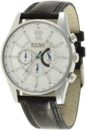 Titan Classique Chronograph Silver Dial Men's Watch -NK9322SL02