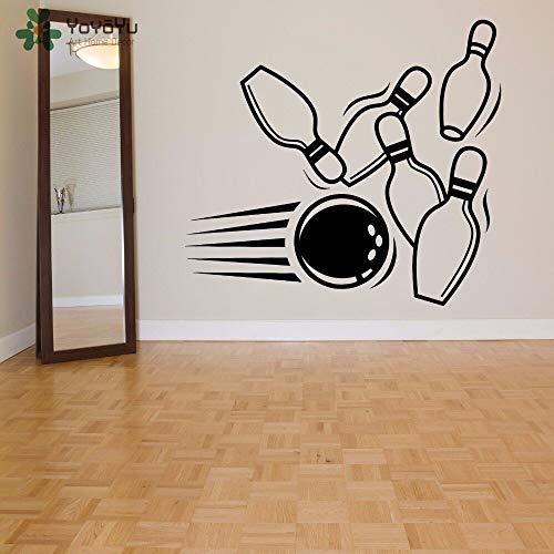 Wandtattoo Bowling Pin Ball Muster Sport Wandaufkleber Moderne Mode Kunstwand Spielzimmer Spezielle Fenster Dekor Design 46X42CM