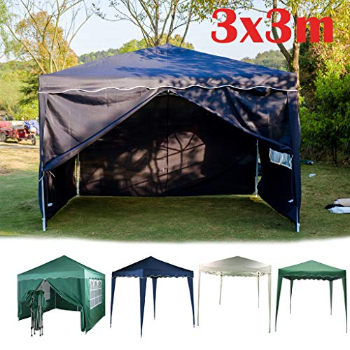 Yiyai Pop-up Pavillon 3x3m Festzelt | mit 4 abnehmbaren Seitenteilen Gartenzelt Schwerlast | wasserdicht und UV-Schutz 50 + | Ideal für Balkon, Garten, Terasse, Camping | Blau