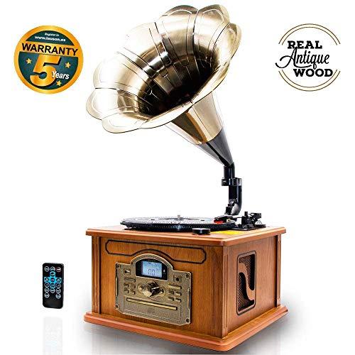 LAUSON CL147 Grammophon Plattenspieler Bluetooth   Nostalgie Holz Musikanlage   Retro Stereoanlage   Retro Radio   CD Player   MP3 mit USB (Naturholz)