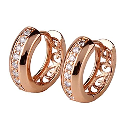 GULICX White Zircon Crystal Vogue 18k Rose Gold Plated Small Huggie Hoop Earrings for Girl