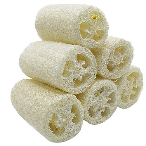 NATURE - confezione da 6 spugne Luffa Spa per peeling, per eliminare la pelle morta con funzione di pulizia multipla (circa 10 cm)