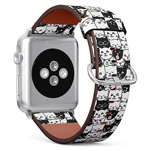 R-Rong kompatibel Watch Armband, Echtes Leder Uhrenarmband f¨¹r Apple Watch Series 4/3/2/1 Sport Edition 42/44mm - Funny Cute cat Faces Pattern (Männer Cat Watch)