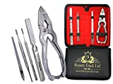 BeautyTrack Professional Podiatry Kit for thick toenails - Stainless Steel 16 cm German Cutters - Tool for the care of the Feet with Foot Rasp + 2 Nail Files - Case