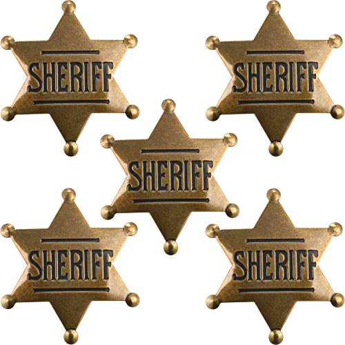 5 Stücke Metall Sheriff Abzeichen Old West Kostüm Abzeichen Bronze Spielzeug Abzeichen Party Favors -