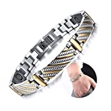 Beewanta Titan Magnetarmband mit Silber vergoldet Armband Handkette Gesundheit Energie Armband Edelstahl verbessern Bio Magnetarmbänder