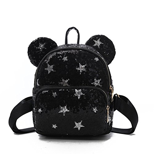 Sequin Mickey borsette per bambini colorate stelle zaino borsa donna simpatico cartone animato nero