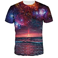 Summer New Starry Sky ImpresióN Digital Casual Pareja Camiseta Hombre Manga Corta Cuello Redondo Camisa Suelta