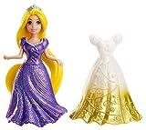Princesas Disney - Muñeca, miniprincesa Rapunzel con vestido magiclip (Mattel X9411)