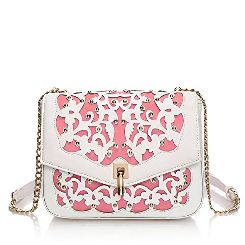 Schulter Messenger Bag Hollow Casual Chain Package Lightpink
