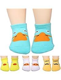 KF bebé non-skid calcetines de algodón Value Pack, Set de 4pares, Bebés a Niños