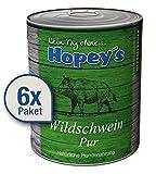 Hopey's hypoallergenes Hundefutter: 100% Wildschweinfleisch, Single Protein, Getreidefrei 6X 850g Dosen